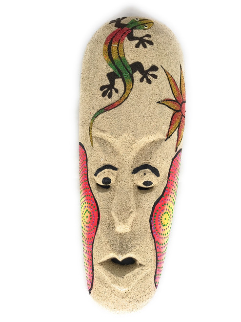 "Sand Tiki Mask 12"" w/ Gecko - Decorative Primitive Art 