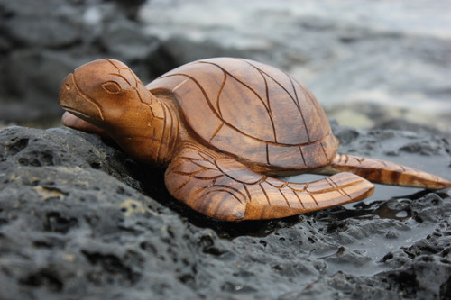 "Carved Hawaiian Turtle Honu 12"" Natural - Hand Carved 