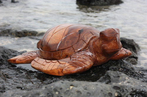 """Carved Hawaiian Turtle Honu 16"""" Stained - Hand Carved"""