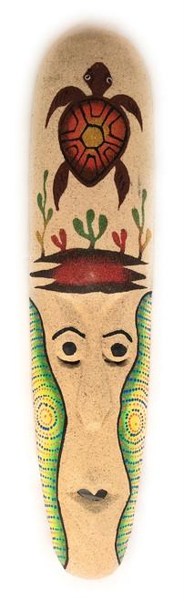 "Sand Tiki Mask 20"" w/ Turtle - Decorative Primitive Art | #wib370750b"