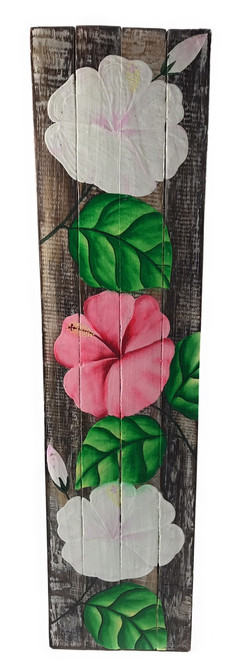 "Hibiscus Flower Painting on Wood Planks 20"" X 5"" Rustic Wall Decor 