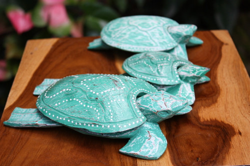 Set of 3 Turtles Ashtray/Keepsake Boxes Turquoise | #wib3708