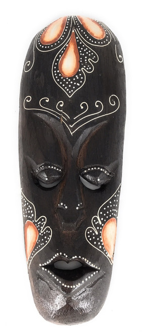 "Tribal Mask 12"" Floral - Primitive Art Tiki 