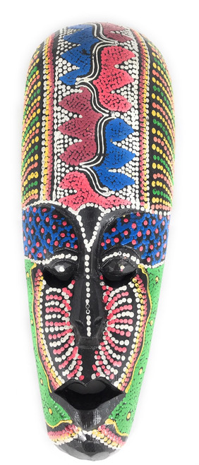 "Colorful Tribal Mask 12"" Tattoo Tiki - Primitive Art 