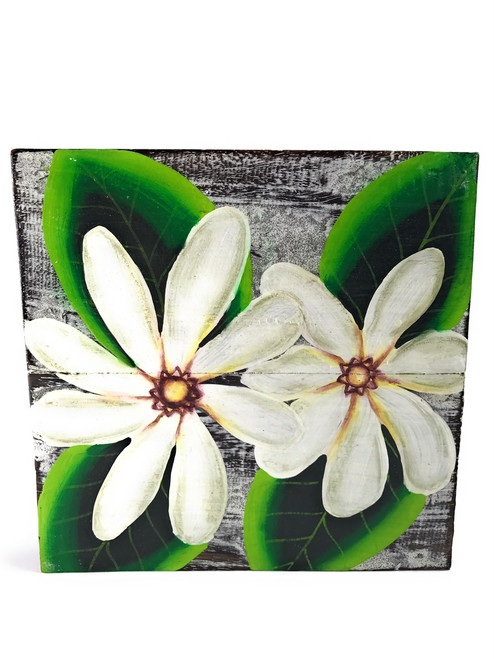 "Tiare Flower Painting on Wood Planks 8"" X 8"" Rustic Wall Decor 