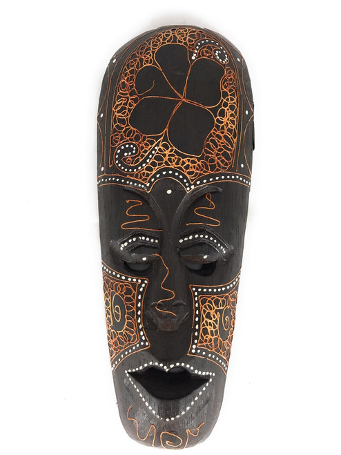 "Tribal Mask 12"" w/ Hibiscus - Primitive Art Tiki 