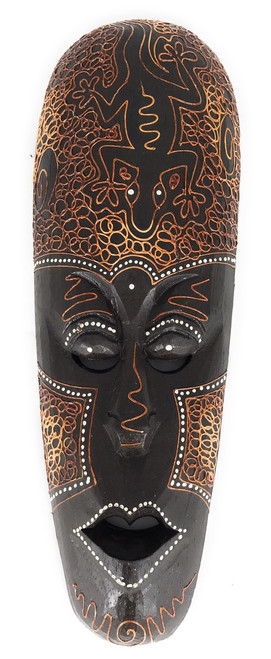 "Tribal Mask 12"" w/ Gecko - Primitive Art 