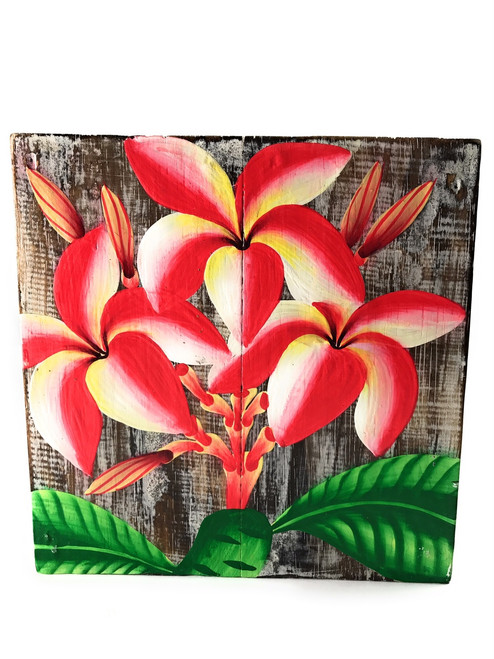 "Plumeria Flower Painting on Wood Planks 8"" X 8"" Rustic Wall Decor 