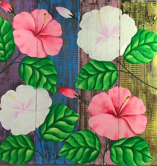 "Hibiscus Flower Painting on Wood Planks 16"" X 16"" Rustic Wall Decor 
