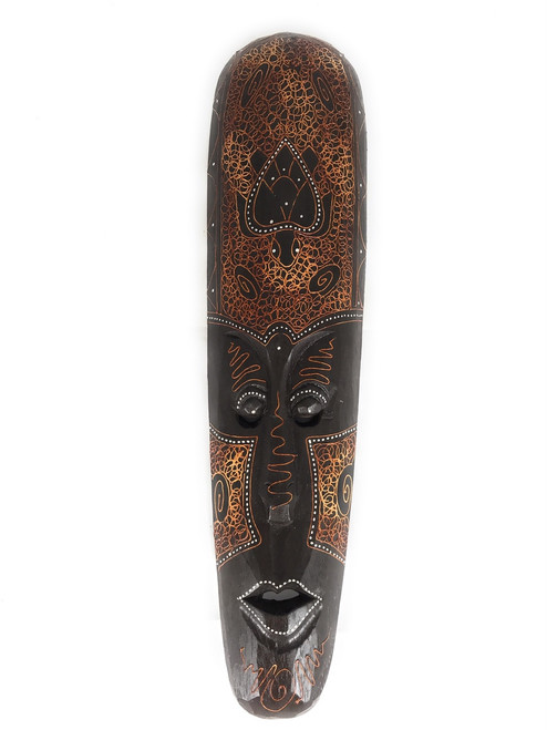 "Tribal Tiki Mask 20"" w/ Turtle - Primitive Art 