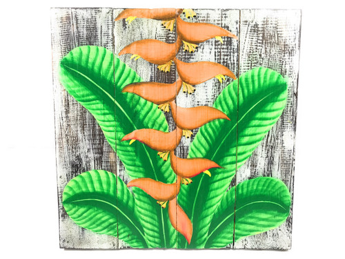 "Heliconia Flower Painting on Wood Planks 16"" X 16"" Rustic Wall Decor 