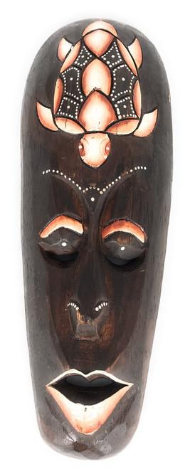 """Tribal Mask 12"""" w/ Turtle - Primitive Art Tiki   #wib370530a"""