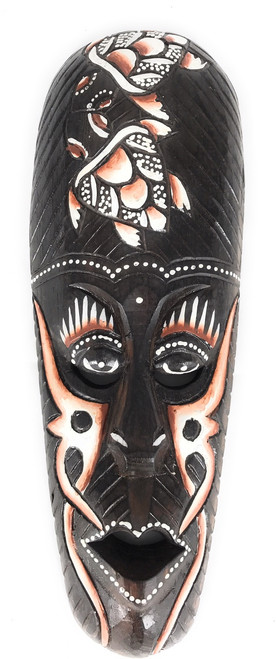 "Tribal Mask 12"" w/ Turtles - Primitive Art Tiki 