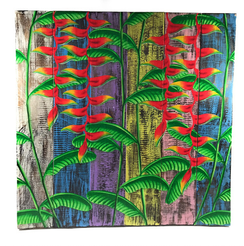 """Heliconia Flower Painting on Wood Planks 24"""" X 24"""" Rustic Wall Decor 