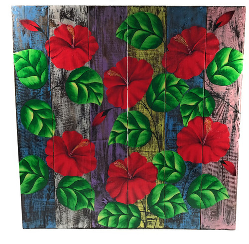 """Hibiscus Flower Painting on Wood Planks 24"""" X 24"""" Rustic Wall Decor   #zon05b"""