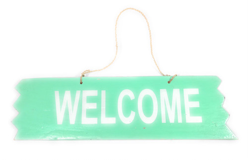 """Cute """"Welcome"""" Wooden Sign 12"""" X 4"""" - Turquoise 