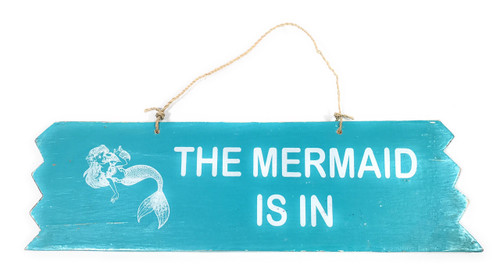 "Cute ""The Mermaid Is In"" Wooden Sign 12"" X 4"" - blue 