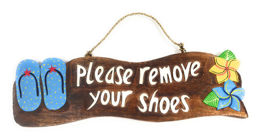 """""""Please Remove Your Shoes"""" Beach Sign w/ Slippers 17"""" - Blue 