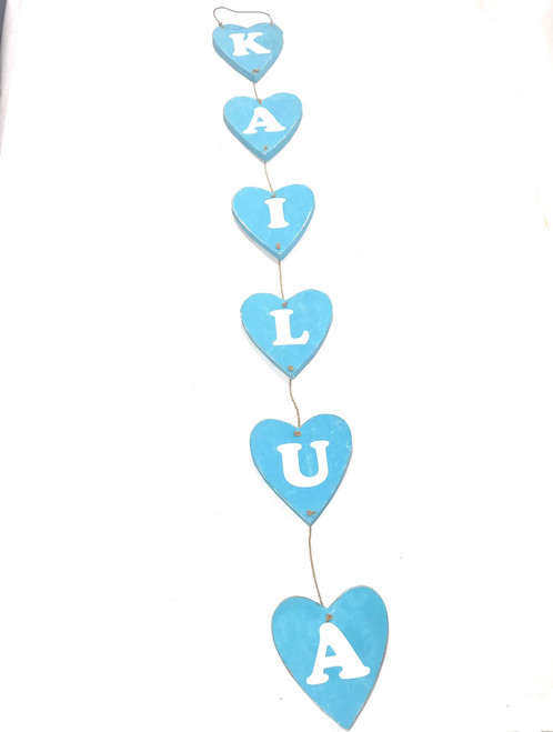 "Heart ""Kailua"" Garland Beach Sign on Wood 30"" X 4"" - Blue 