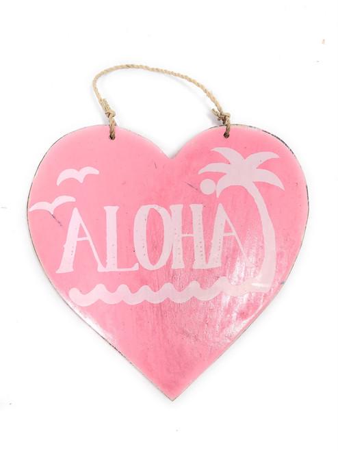 """Aloha"" Heart Sign 5"" - Pink | #snd25116p"