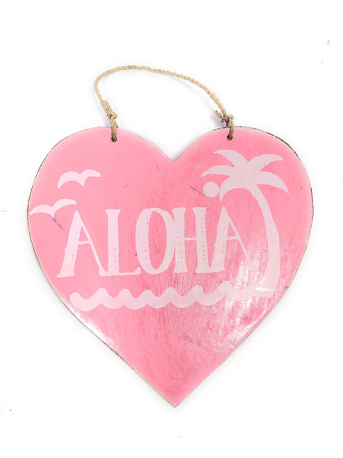 """Aloha"" Heart Sign 5"" - Pink 
