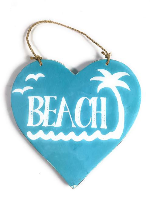 """Wooden """"Beach"""" Heart Sign 5"""" - Blue   #snd25103b"""