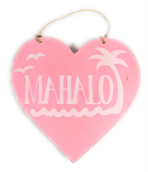 """Wooden """"Mahalo"""" Heart Sign 5"""" - Pink 