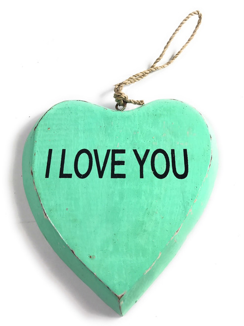 """Wooden """"I LOVE YOU"""" Heart Sign 5"""" - Turquoise 