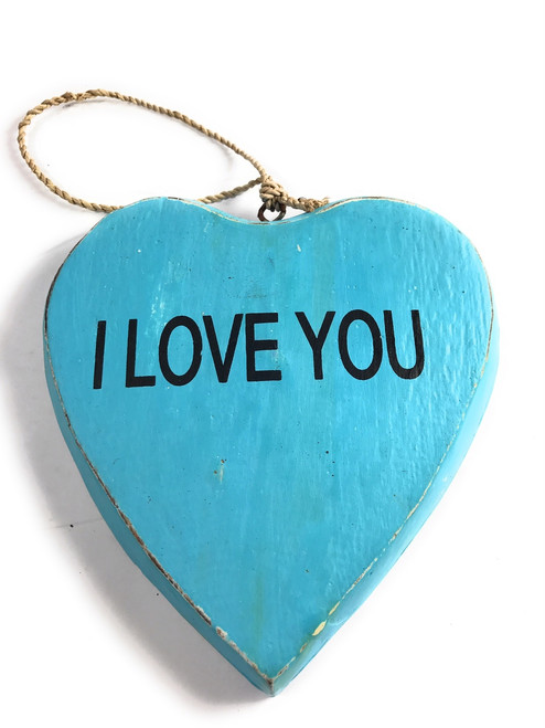 """Wooden """"I LOVE YOU"""" Heart Sign 5"""" - Blue 