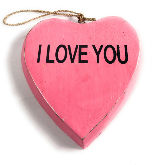 """Wooden """"I LOVE YOU"""" Heart Sign 5"""" - Pink 