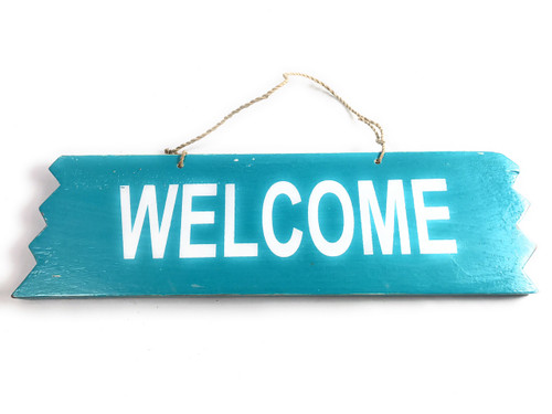 "Cute ""Welcome"" Wooden Sign 12"" X 4"" - Blue 