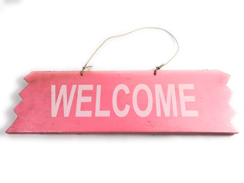 "Cute ""Welcome"" Wooden Sign 12"" X 4"" - Pink 