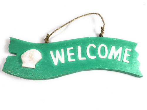 """Welcome"" Wooden Sign w/ seashell 12"" X 4"" - Mint 