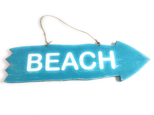 "Arrow Sign ""Beach"" Wooden 12"" X 4"" - Blue 