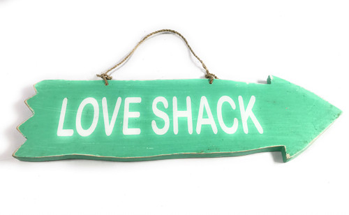 "Arrow Sign ""Love Shack"" Wooden 12"" X 4"" - Turquoise 