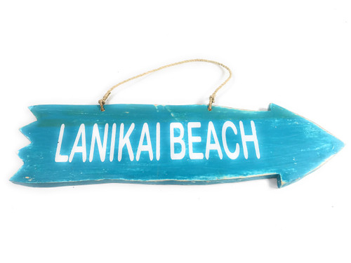 "Arrow Sign ""Lanikai Beach"" Wooden 12"" X 4"" - Blue 