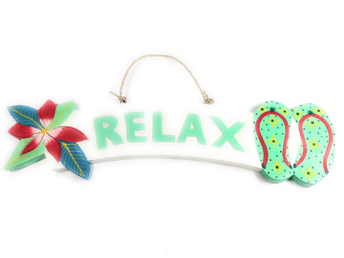 """Relax"" Beach Sign w/ Plumeria & Slippers 18"" - Turquoise 