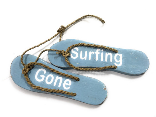 """Pair Of Wooden Slippers """"Gone Surfing"""" Hanging Sign 8"""" - Blue   #snd25090"""