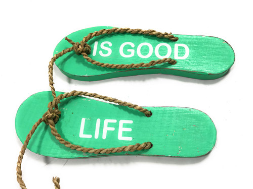 """Pair Of Wooden Slippers """"Life Is Good"""" Hanging Sign 8"""" - Mint   #snd25094"""