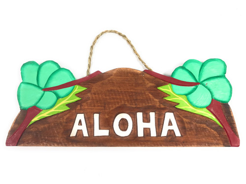 """Aloha"" w/ Hibiscus Wooden Sign 11"" X 4.5"" - Turquoise 