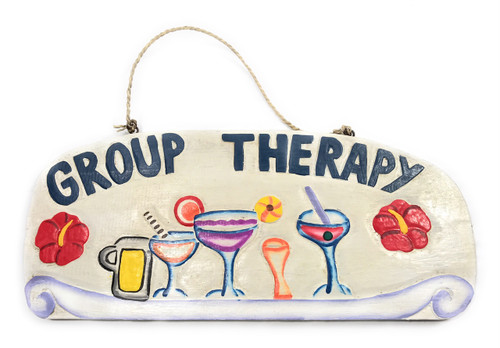 """Tiki Bar """"Group Therapy"""" w/ Hibiscus Happy Hour Sign 16"""" 