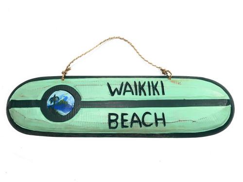 """Waikiki Beach"" Wooden surf sign 20"" w/ custom painting | #snd25083"