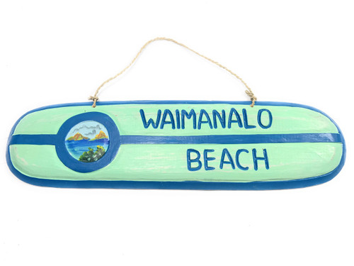 """Waimanalo Beach"" Wooden surf sign 20"" w/ custom painting 