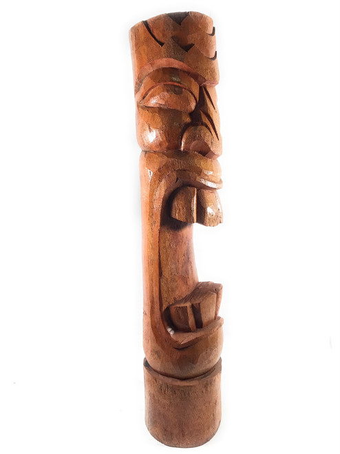 "Laughing Tiki Totem Pole 40"" Outdoor - Natural Finish 