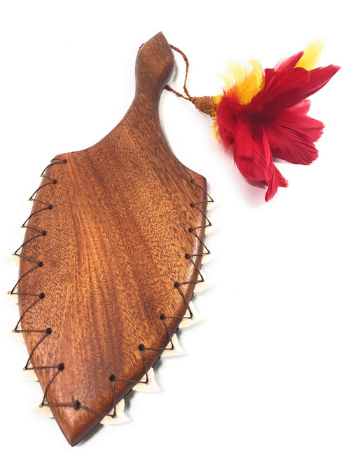 "Alii Hawaiian War Club 19"" - Red/Yellow Feathers - Made In Hawaii 