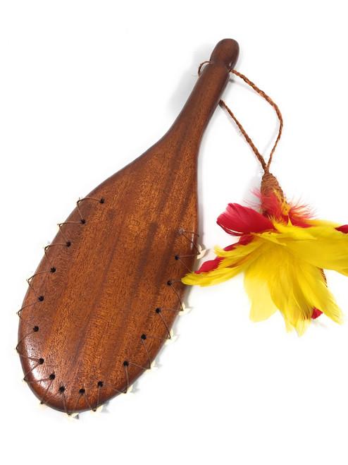 """Alii Hawaiian War Club 19"""" - Red/Yellow Feathers & Shark Teeth   #koalom006ry"""