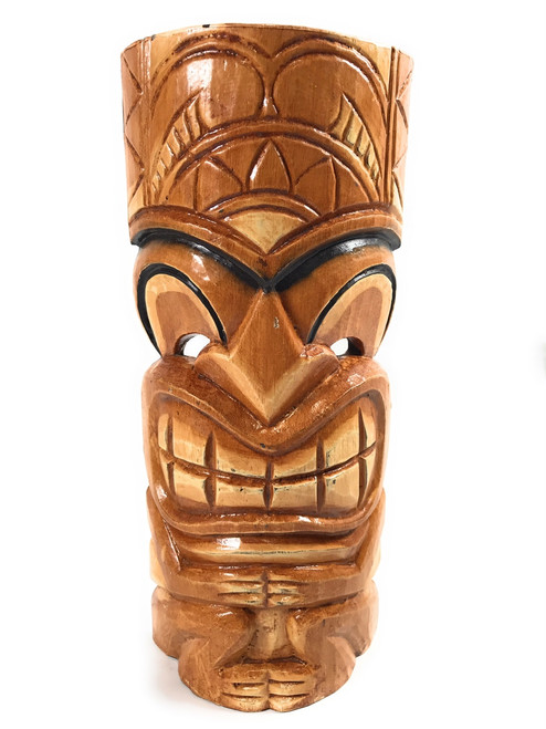 "Lucky Tiki Mask 12"" - Black Outline - Hand Carved 