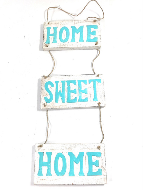 """Home Sweet Home"" Hanging Beach Sign 20"" X 6"" 