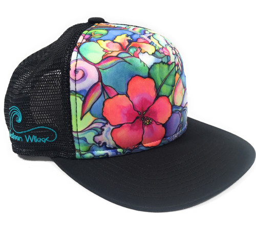 Aloha Trucker Hats Island Style by Colleen Wilcox - Black | #cwis
