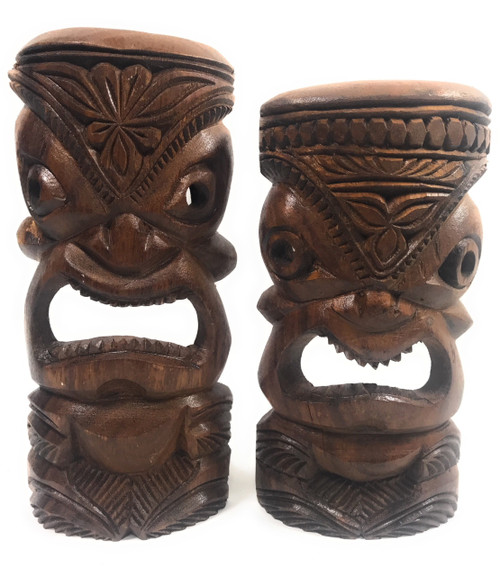 "Pair Of Hand Carved Tiki Masks 11"" - Made In Hawaii 